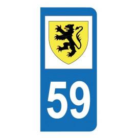 Autocollant blason 59 Nord pour plaque d'immatriculation