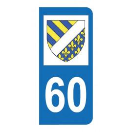 Autocollant blason 60 Oise pour plaque d'immatriculation
