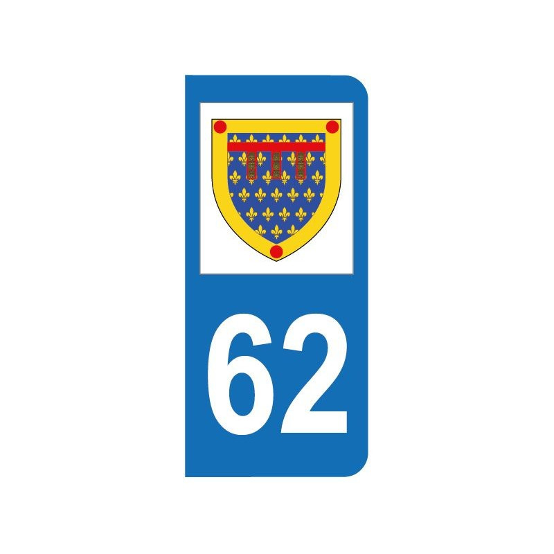 Autocollant blason 62 Pas-de-Calais pour plaque d'immatriculation