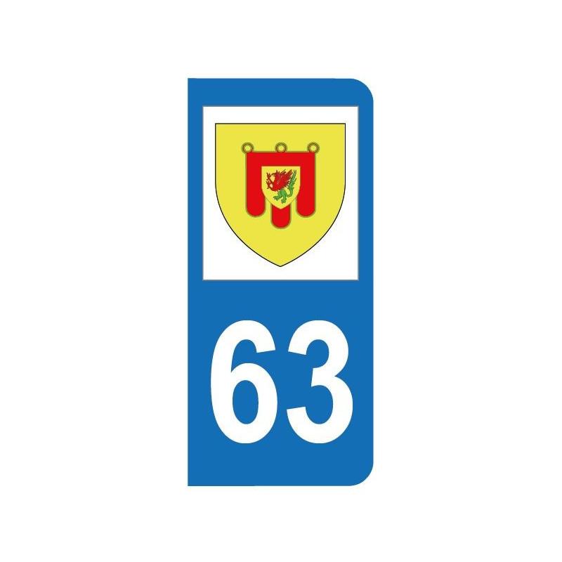 Autocollant blason 63 Puy-de-Dôme pour plaque d'immatriculation