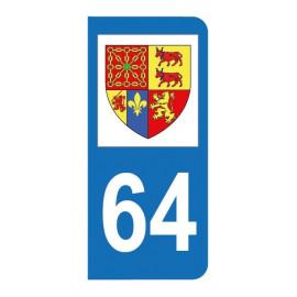 Autocollant blason 64 Pyrénées-Atlantiques pour plaque d'immatriculation