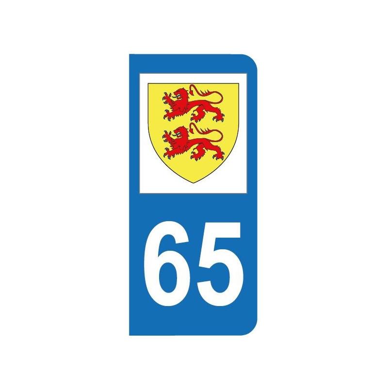 Autocollant blason 65 Hautes-Pyrénées pour plaque d'immatriculation