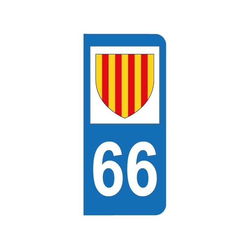 Autocollant blason 66 Pyrénées-Orientales pour plaque d'immatriculation