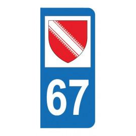 Autocollant blason 67 Bas-Rhin pour plaque d'immatriculation