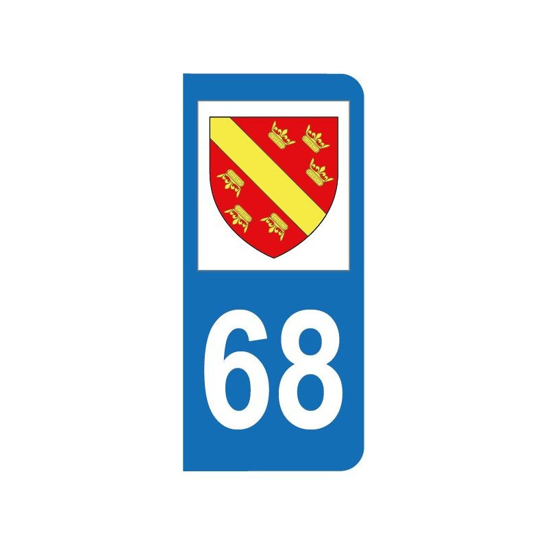 Autocollant blason 68 Haut-Rhin pour plaque d'immatriculation