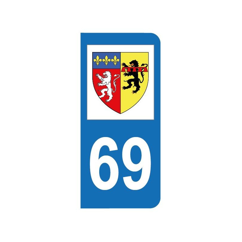 Autocollant blason 69 Rhône pour plaque d'immatriculation