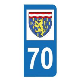 Autocollant blason 70 Haute-Saône pour plaque d'immatriculation