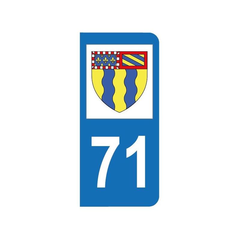 Autocollant blason 71 Saône-et-Loire pour plaque d'immatriculation