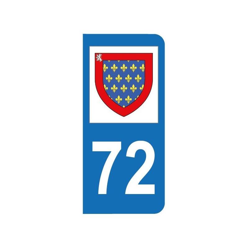 Autocollant blason 72 Sarthe pour plaque d'immatriculation