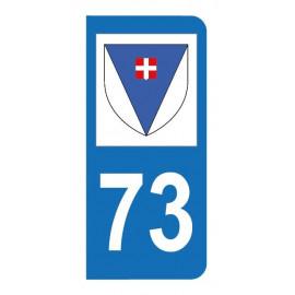 Autocollant blason 73 Savoie pour plaque d'immatriculation