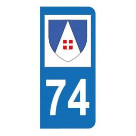 Autocollant blason 74 Haute-Savoie pour plaque d'immatriculation