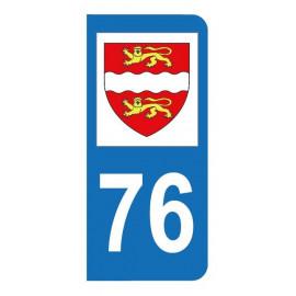 Autocollant blason 76 Seine-Maritime pour plaque d'immatriculation
