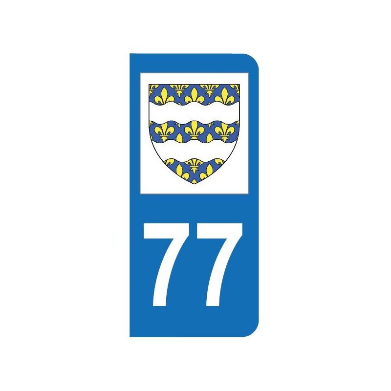 Autocollant blason 77 Seine-et-Marne pour plaque d'immatriculation