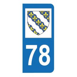 Autocollant blason 78 Yvelines pour plaque d'immatriculation