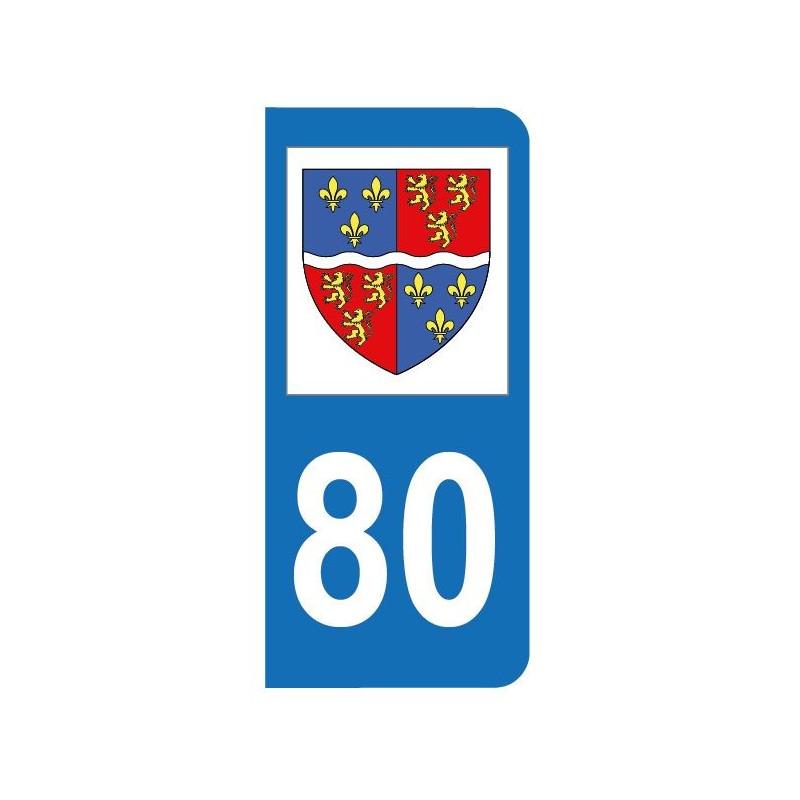 Autocollant blason 80 Somme pour plaque d'immatriculation