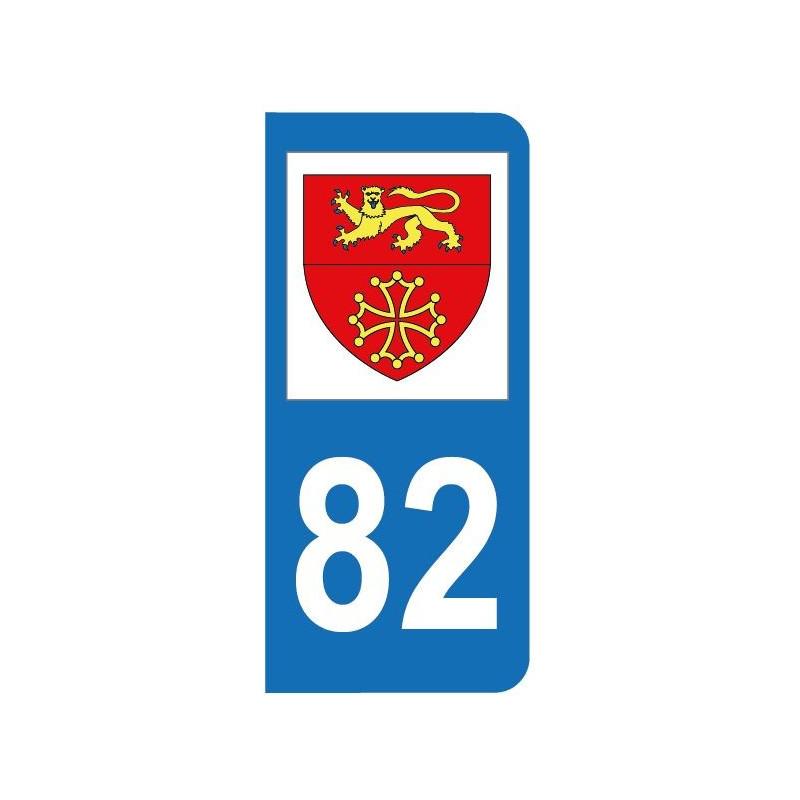 Autocollant blason 82 Tarn-et-Garonne pour plaque d'immatriculation
