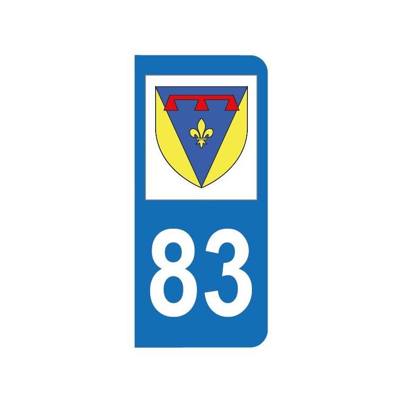 Autocollant blason 83 Var pour plaque d'immatriculation