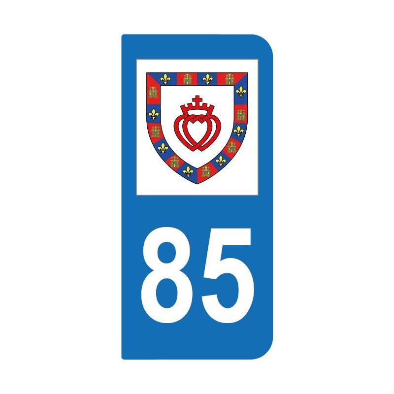 Autocollant blason 85 Vendée pour plaque d'immatriculation