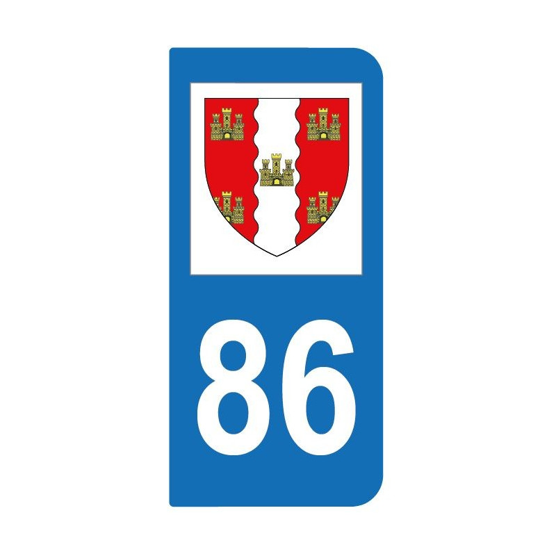 Autocollant blason 86 Vienne pour plaque d'immatriculation