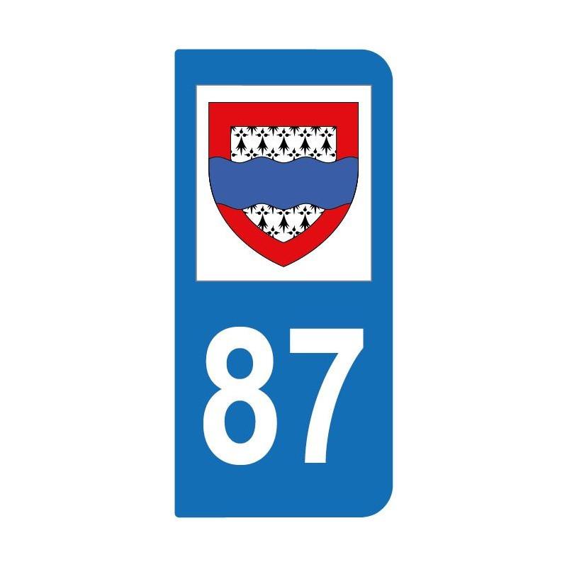 Autocollant blason 87 Haute-Vienne pour plaque d'immatriculation