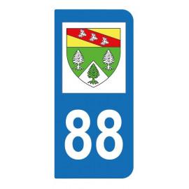 Autocollant blason 88 Vosges pour plaque d'immatriculation