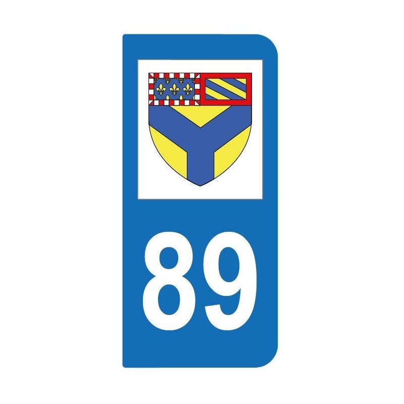 Autocollant blason 89 Yonne pour plaque d'immatriculation