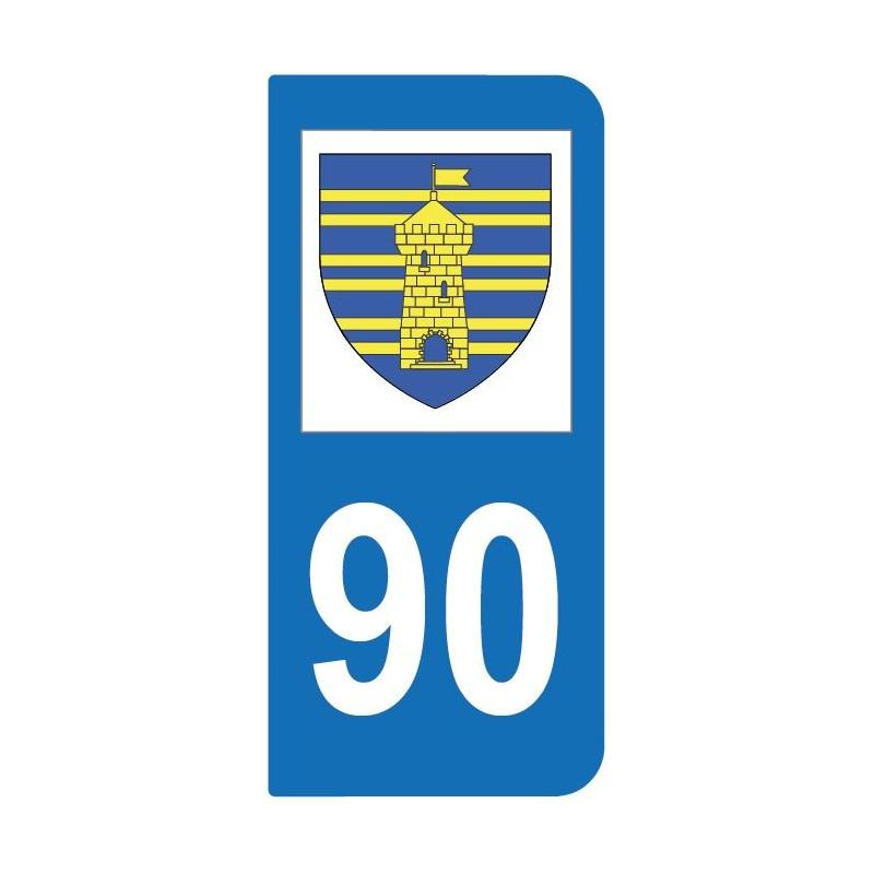 Autocollant blason 90 Territoire de Belfort pour plaque d'immatriculation