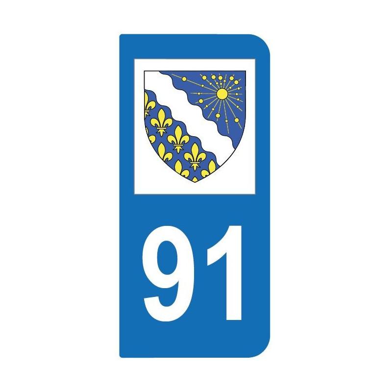 Autocollant blason 91 Essonne pour plaque d'immatriculation