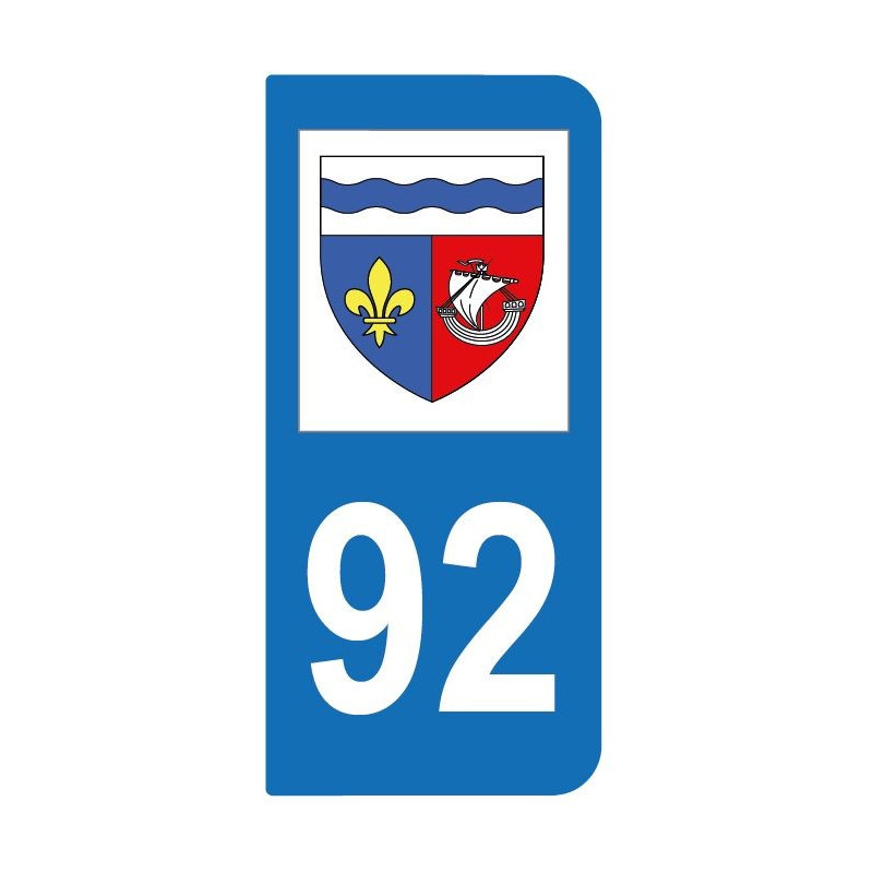 Autocollant blason 92 Hauts-de-Seine pour plaque d'immatriculation