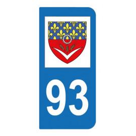 Autocollant blason 93 Seine-Saint-Denis pour plaque d'immatriculation