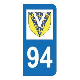 Autocollant blason 94 Val-de-Marne pour plaque d'immatriculation