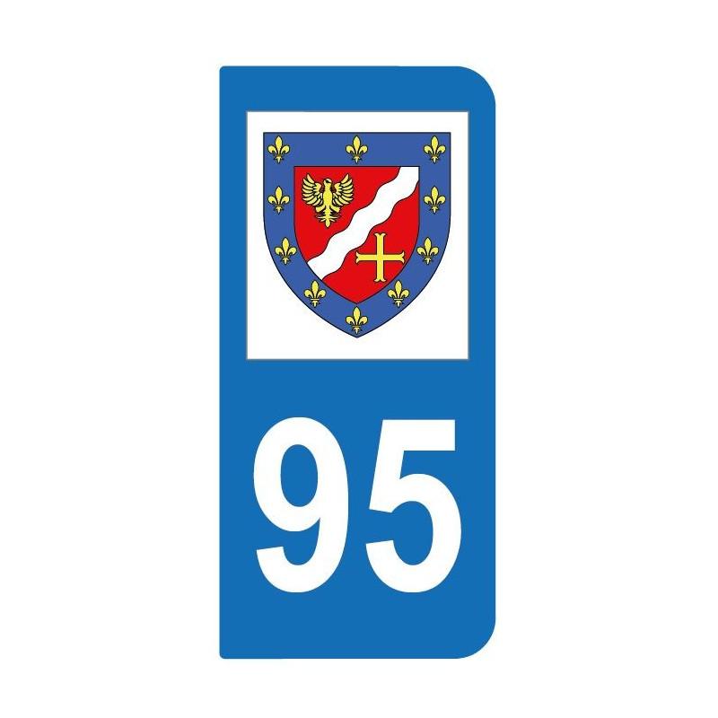 Autocollant blason 95 Val-d'Oise pour plaque d'immatriculation