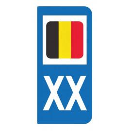Autocollant drapeau Belgique pour plaque d'immatriculation