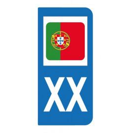 Autocollant drapeau Portugal pour plaque d'immatriculation