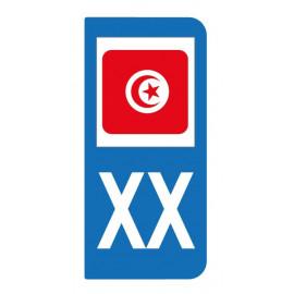 Autocollant drapeau Tunisie pour plaque d'immatriculation