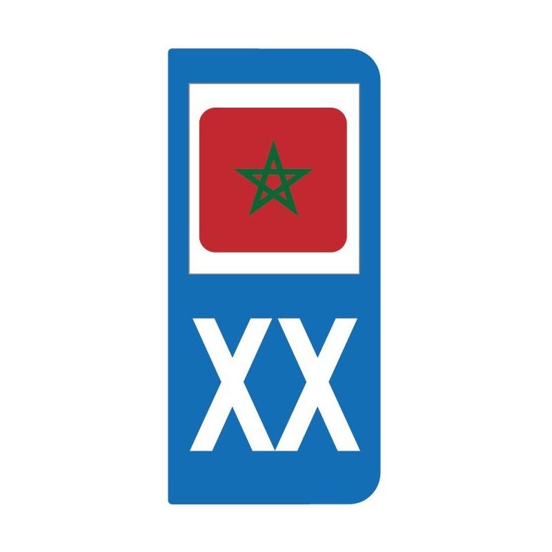 Autocollant drapeau Maroc pour plaque d'immatriculation