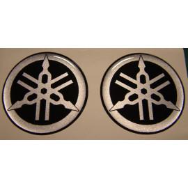 2 logos moto Yamaha diamètre 40 mm en relief 3D