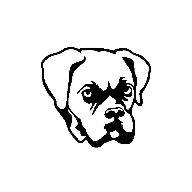 Sticker autocollant t te de chien boxer en vinyle - Dessin de boxer ...
