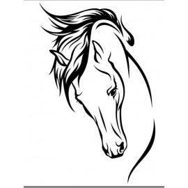Sticker autocollant tête de cheval en vinyle