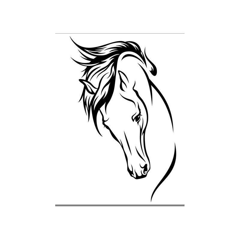 Sticker autocollant t te de cheval en vinyle - Image tete de cheval ...