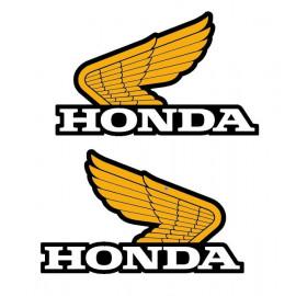 2 stickers Ancienne aile honda jaune corne 130x90 mm