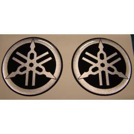 2 logos moto Yamaha diamètre 50 mm en relief 3D